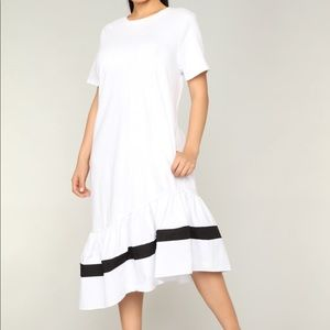 Adorable Asymmetrical Black and White Dress